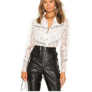Divine Heritage Western Stye Lace Button Up Top